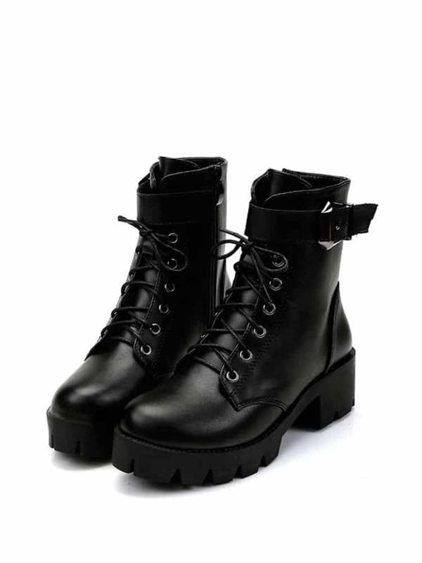 d8a990d124 Lace Up Platform Boots | SHEIN