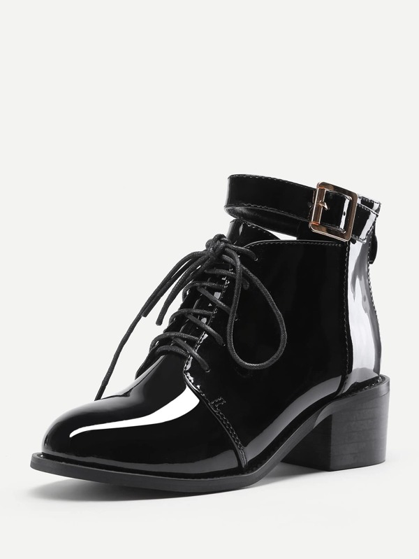 f4408c2e44 Lace Up Block Heeled Patent Leather Boots | SHEIN