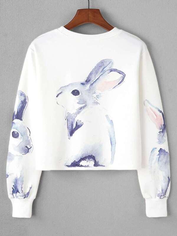 a15bcc1391 Rabbit Print Crop Sweatshirt   SHEIN IN