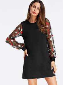 Floral Embroidered Lace Panel Dress