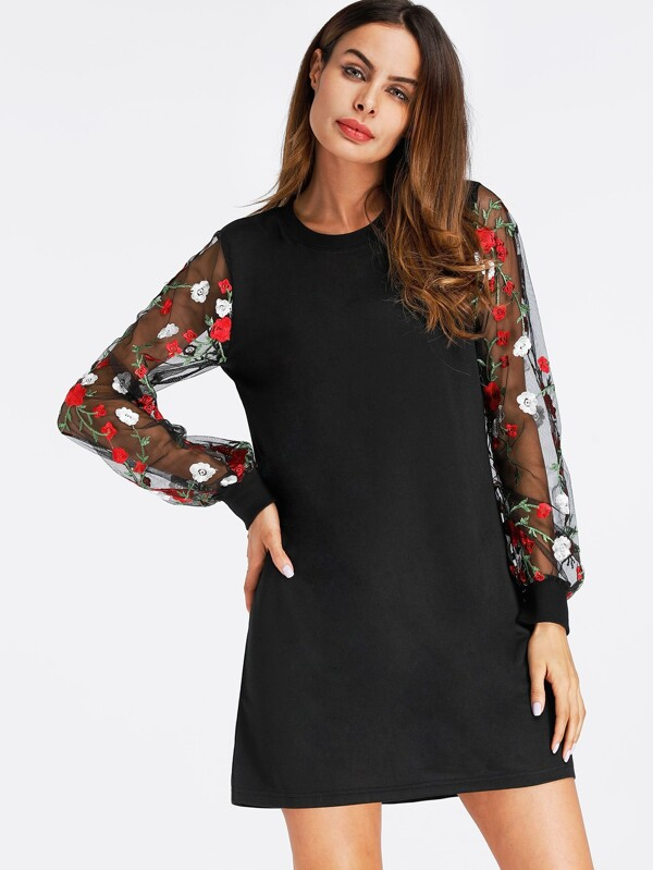 d65251b7de Floral Embroidered Lace Panel Dress   SHEIN