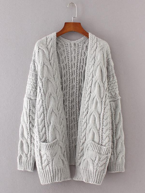 Drop Shoulder Cable Knit Cardigan Sheinsheinside