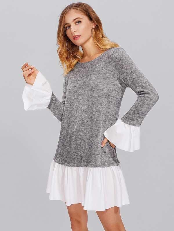 d009c50e88 Contrast Ruffle Cuff And Hem Heather Knit Dress | SHEIN