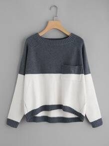 Two Tone Raglan Sleeve Dip Hem Sweater