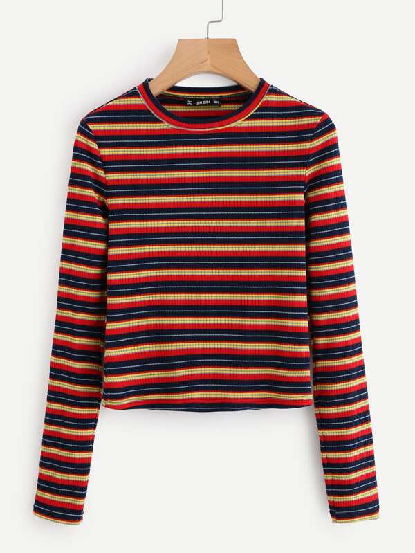 6fbaec555 Colorful Striped Ribbed Tee | SHEIN