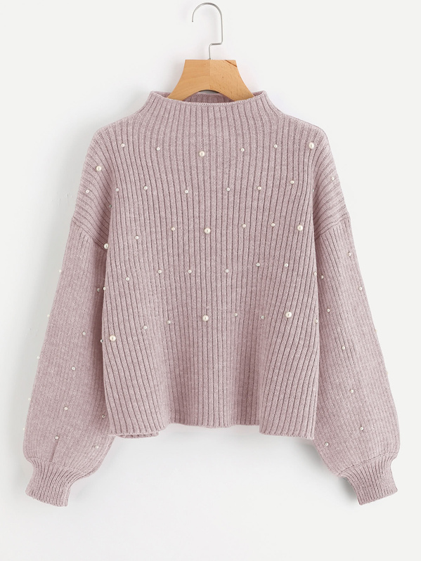 Pearl Embellished Exaggerated Bishop Sleeve Ribbed Sweater, Pink