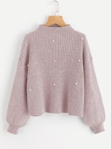 Pearl Embellished Exaggerated Bishop Sleeve Ribbed Sweater