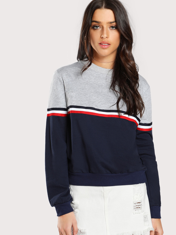 Striped Woven Tape Detail Two Tone Sweatshirt, Multicolor, Ruby King