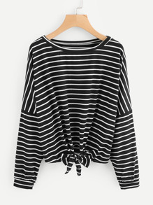 Striped Drop Shoulder Tie Front Tee
