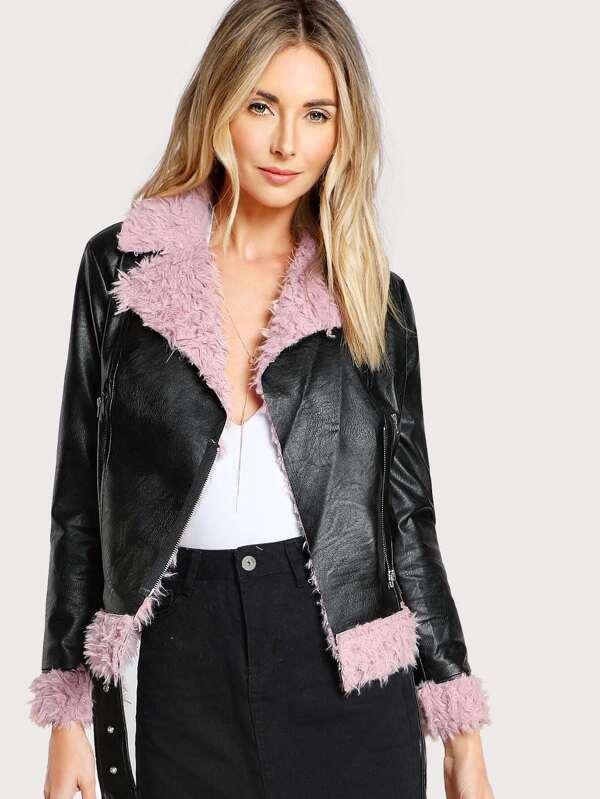 07e98969 Cheap Faux Fur Lined Belted Hem Biker Jacket for sale Australia | SHEIN