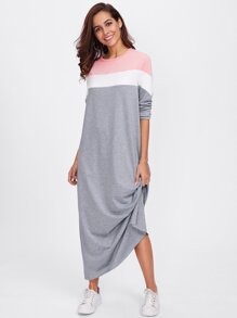 Cut And Sew Raw Edge Sweatshirt Dress