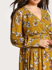 7d236a0bf5 Cheap Plus Floral Print Long Sleeve Maxi Dress for sale Australia   SHEIN