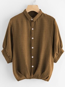 Lantern Sleeve Gathered Hem Shirt