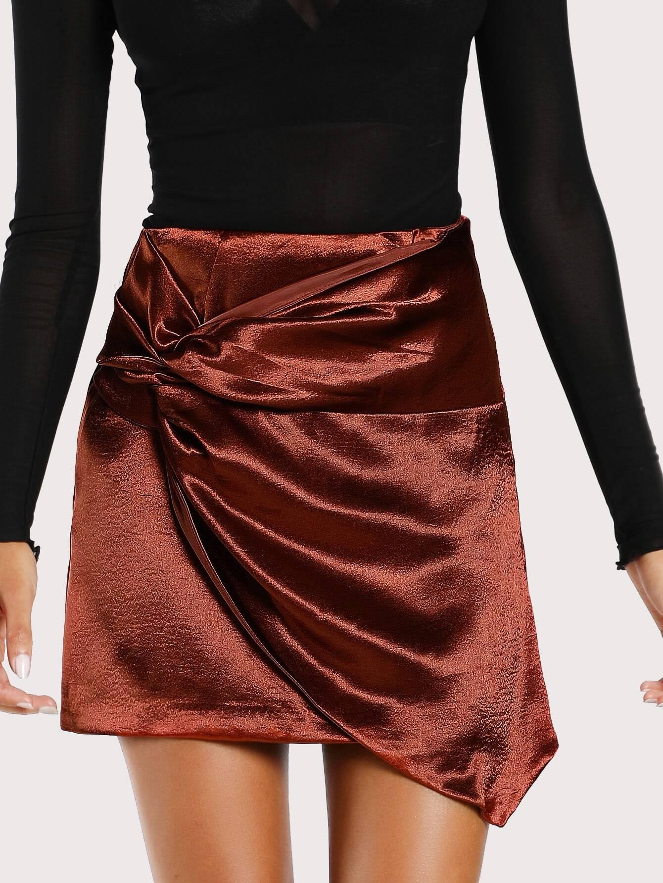 Front Belt Satin Skirt COPPER