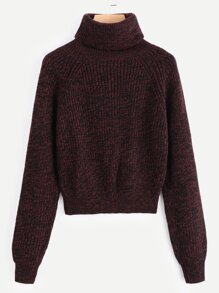 Rolled Neck Longline Sleeve Sweater