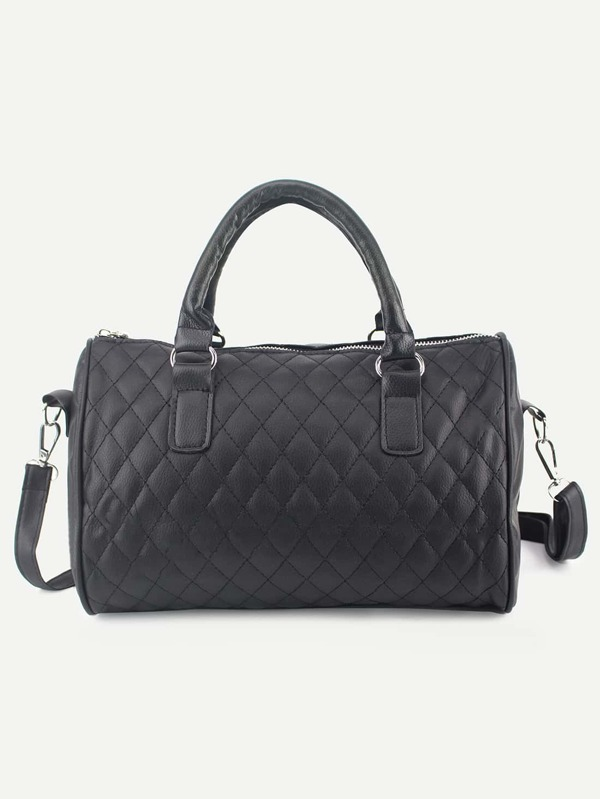 Faux Leather Quilted Bowler Bag - Black  136125e10be65