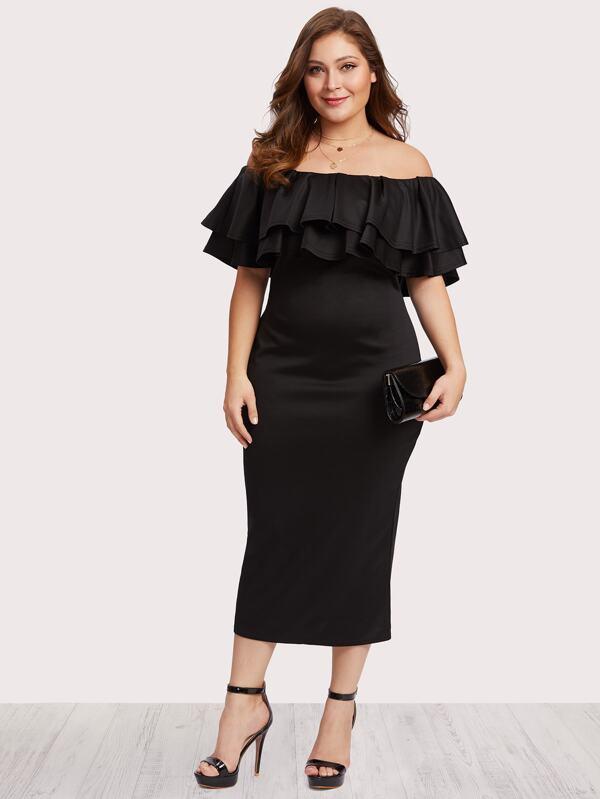 Plus Off Shoulder Tiered Dress | SHEIN