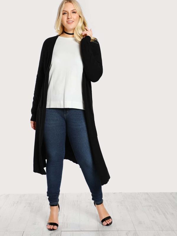 Plus Long Sleeve Floor Length Cardigan BLACK  bcf0bb1d5