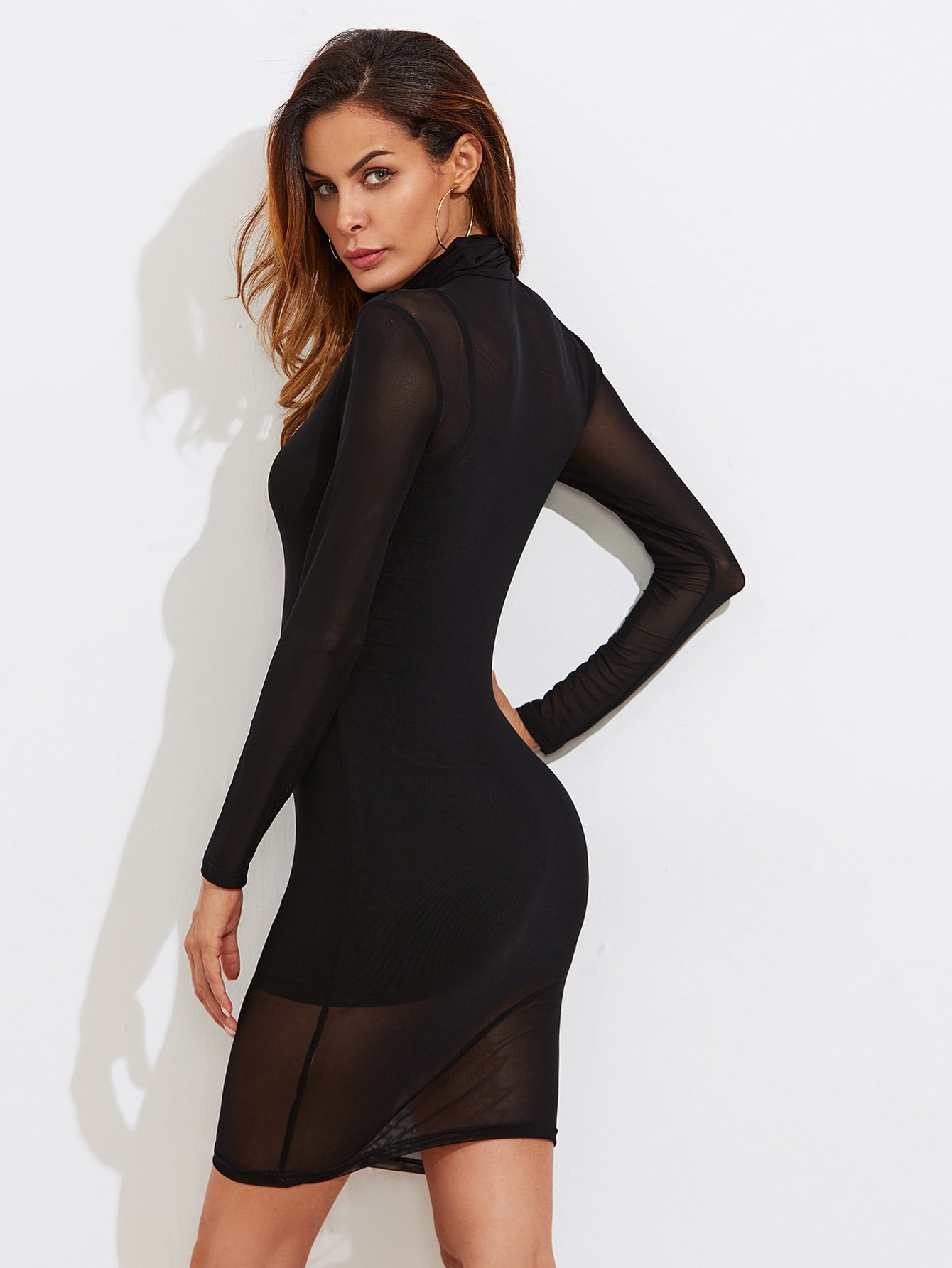 Sheer Mesh Bodycon Dress With Rib Cami Dress -SheIn(Sheinside)