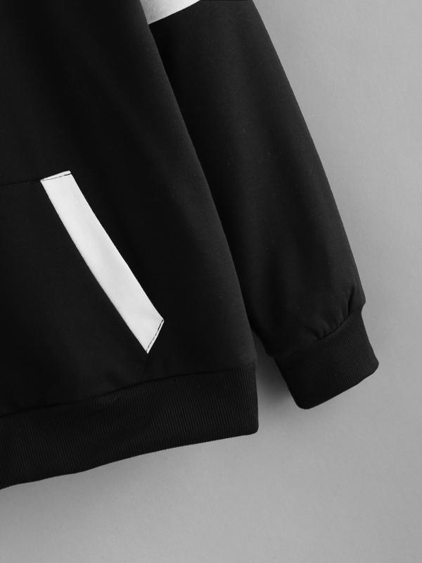 d30eb970ec Contrast Panel Varsity Striped Hoodie | SHEIN UK