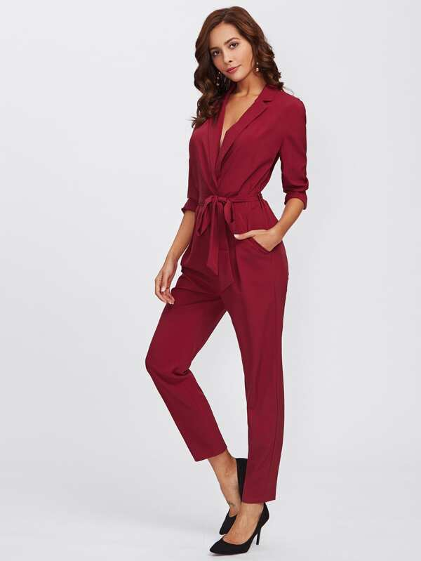 f24b756d77 Wrap And Tie Detail Tailored Jumpsuit