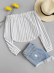 Button Through Striped Bardot Crop Top