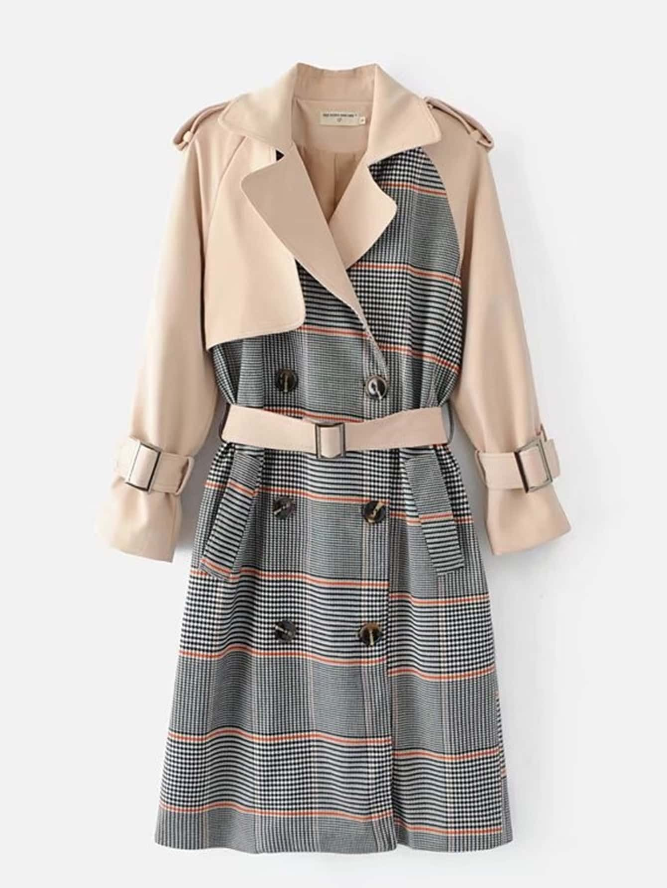 plaid-panel-trench-coat-with-belt by sheinside