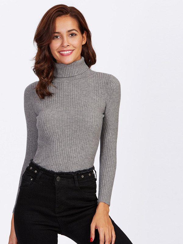 bb00e213dfa Rolled Neck Ribbed Knit Fitted Jumper