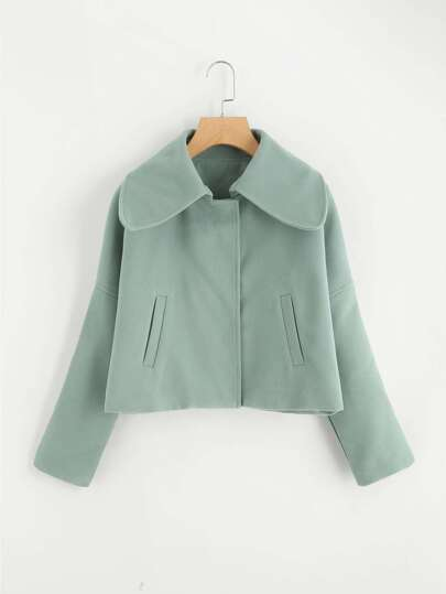 Drop Shoulder Lapel Coat
