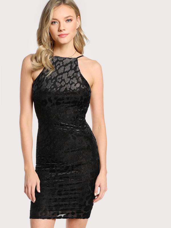 ca304cc83 Leopard Print Velvet Burnout Spaghetti Strap Dress LEOPARD