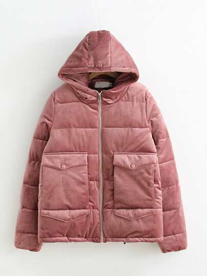 Hooded Velvet Padded Coat