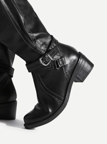 5fc07a7d50 Buckle Side Knee High PU Boots | SHEIN UK
