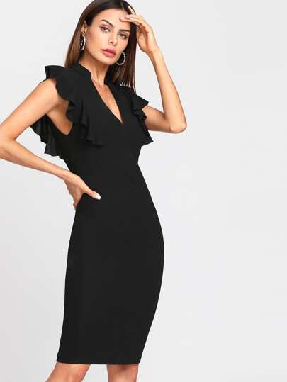Ruffle Trim Vented Back Fitted Dress