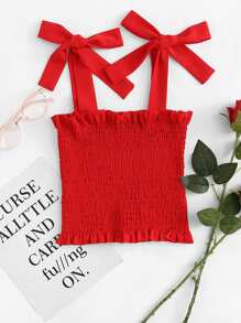 Frill Trim Tie Strap Shirred Top