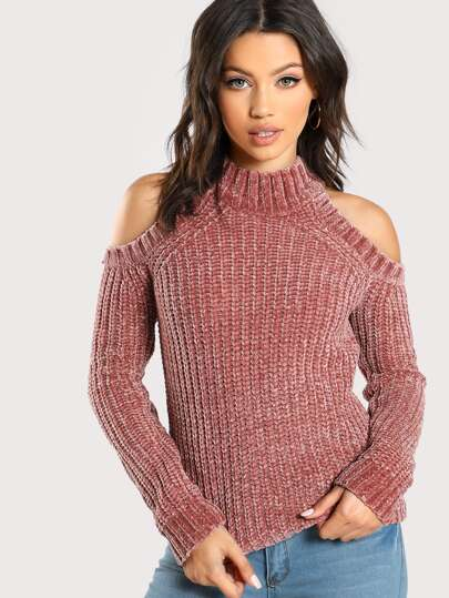 9901afca22 Pull épaules dénudées en tricot en velours