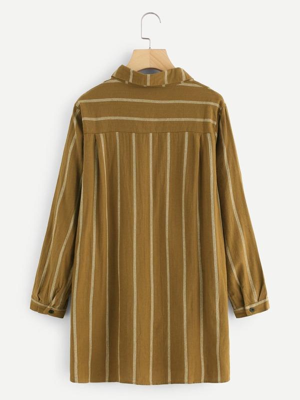 f4d5af301ba3 T-Shirt Kleid mit abfallendem Saum, Seiten Schlitz und Streifen - German  SheIn(Sheinside)