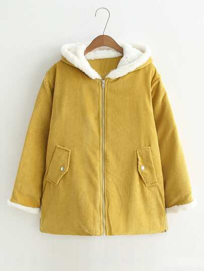 Faux Fur Trim Corduroy Hooded Coat