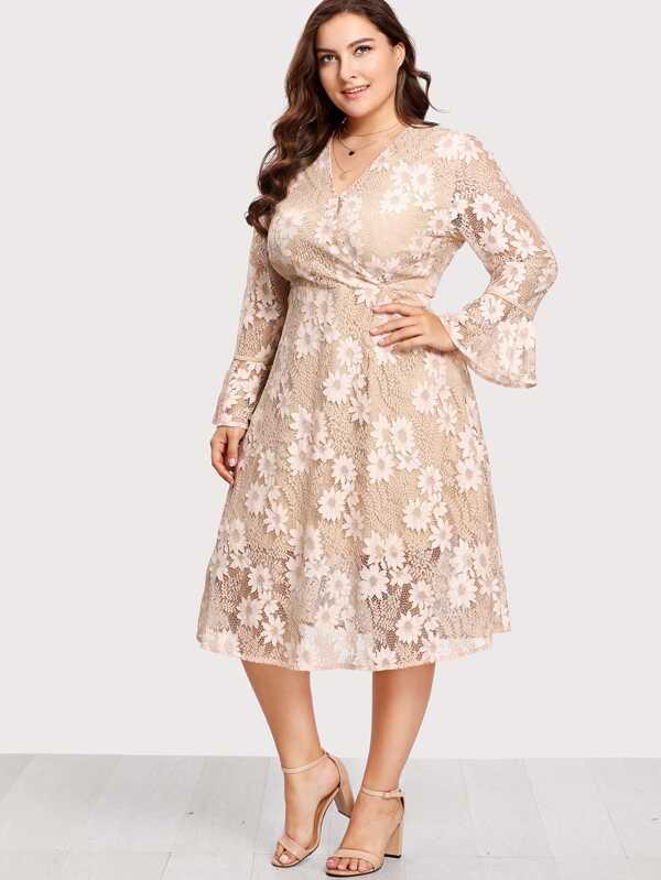 cf5483a93b4 Cheap Plus Flounce Sleeve Surplice Wrap Floral Lace Dress for sale ...