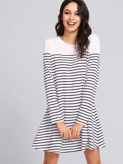 Contrast Striped Tee Dress