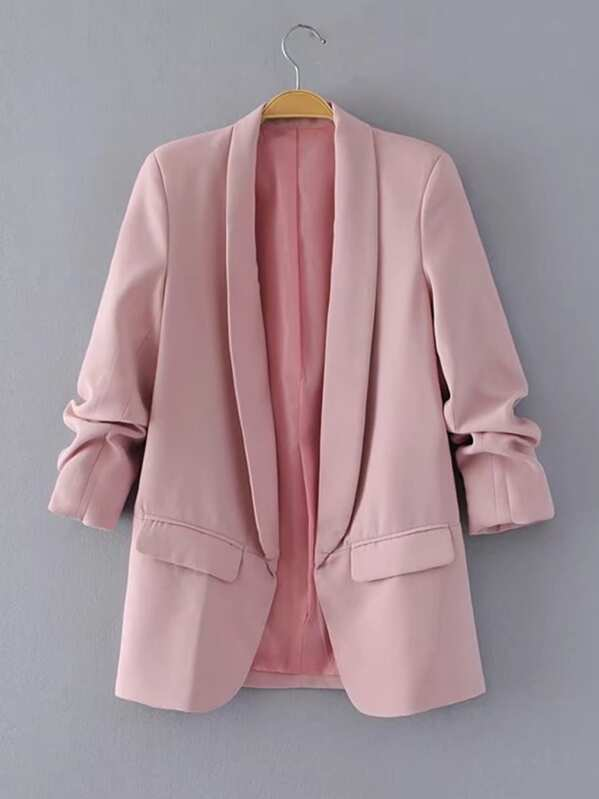 Shawl Collar Tailored Blazer, Pink