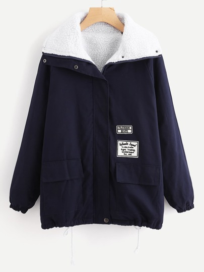 Drawstring Hem Patch Detail Sherpa Lined Coat