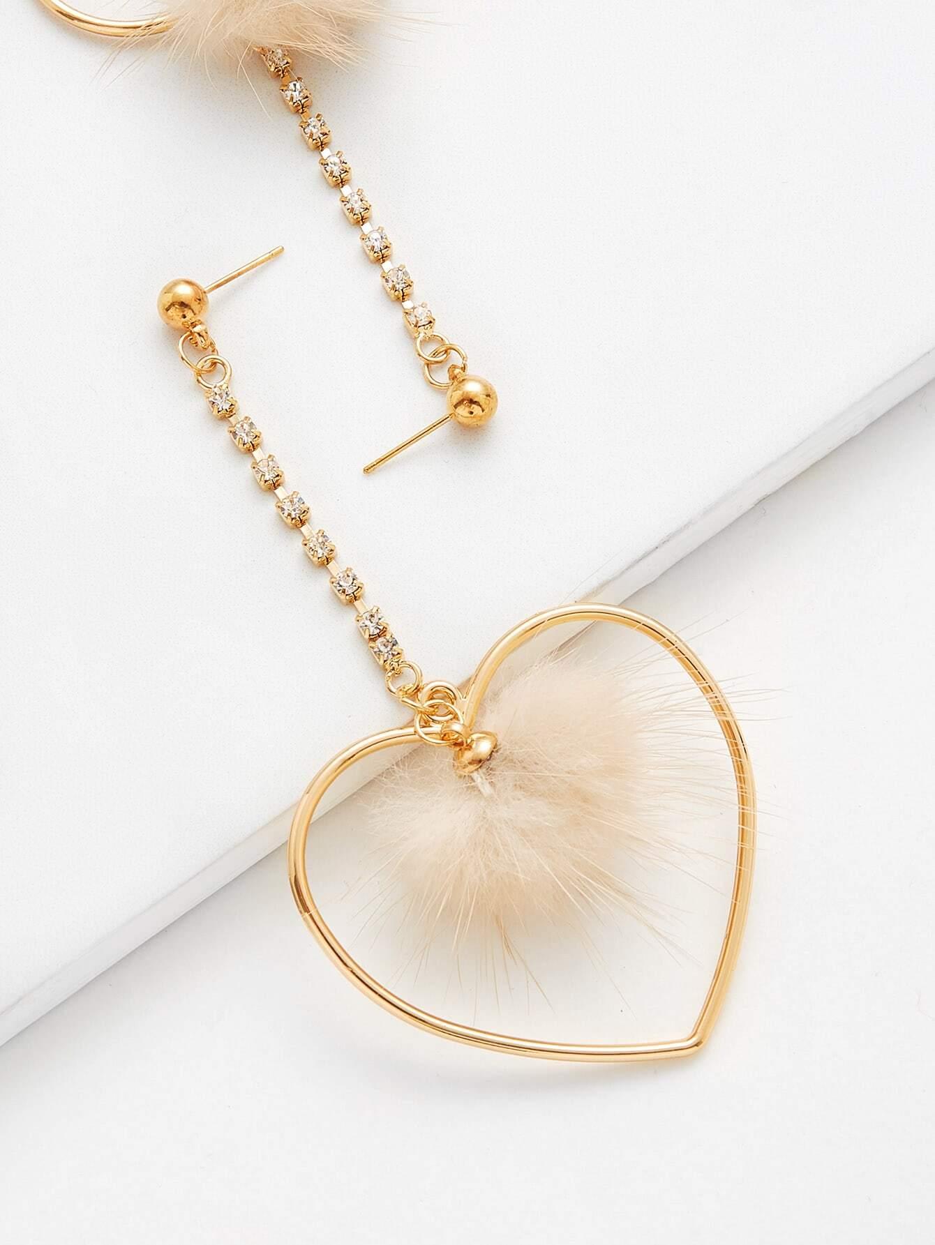 Heart & Pom Pom Design Drop Earrings SheIn Sheinside