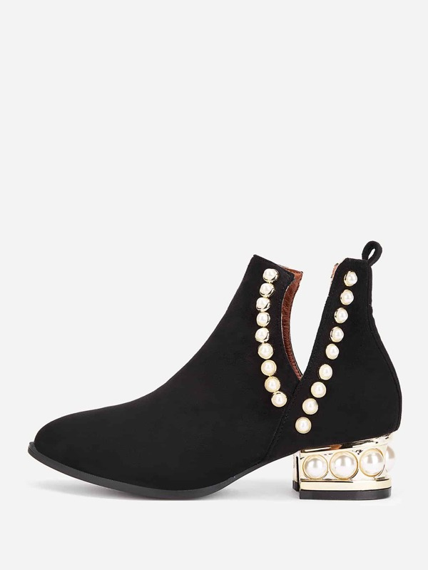 e997ea48ed Faux Pearl Block Heeled Ankle Boots | SHEIN