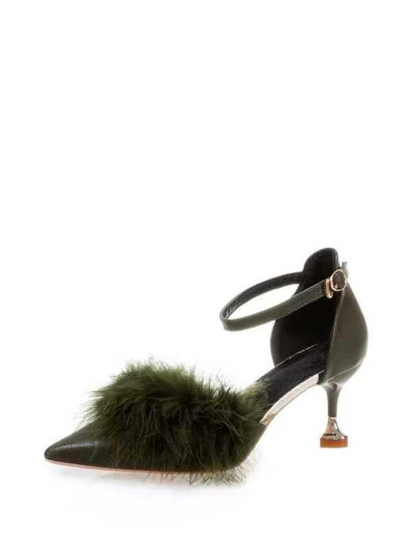 809d5cf07f Faux Fur Embellished Kitten Heels   SHEIN