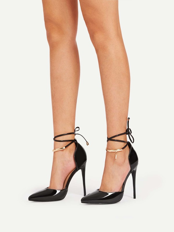 Stiletto Lace Up Pointed Toe Heels