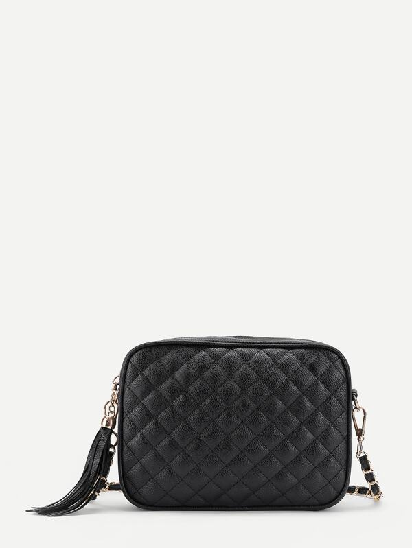 Tassel Zipper Quilted Crossbody Bag Sheinsheinside