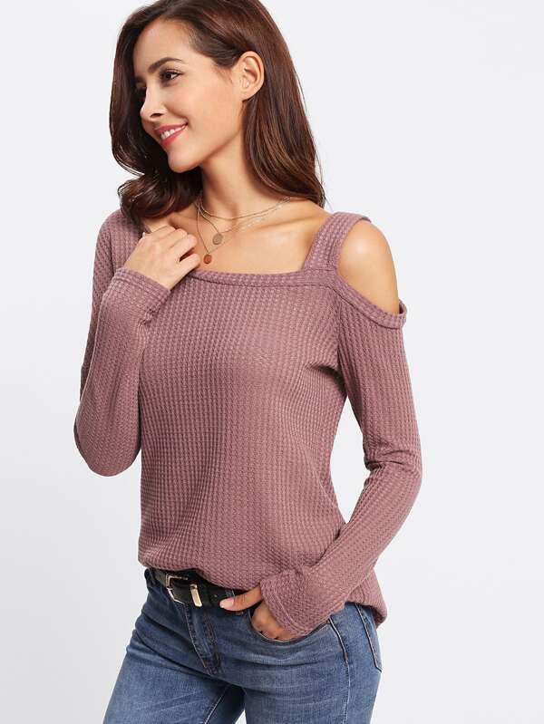 e101221843 Waffle Knit Asymmetrical Neck Slit Top | SHEIN