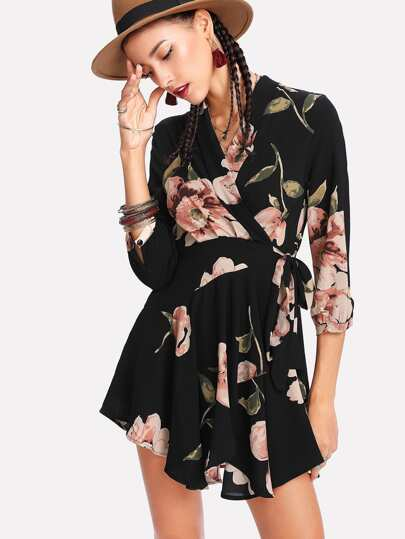 Random Florals Wrap Dress