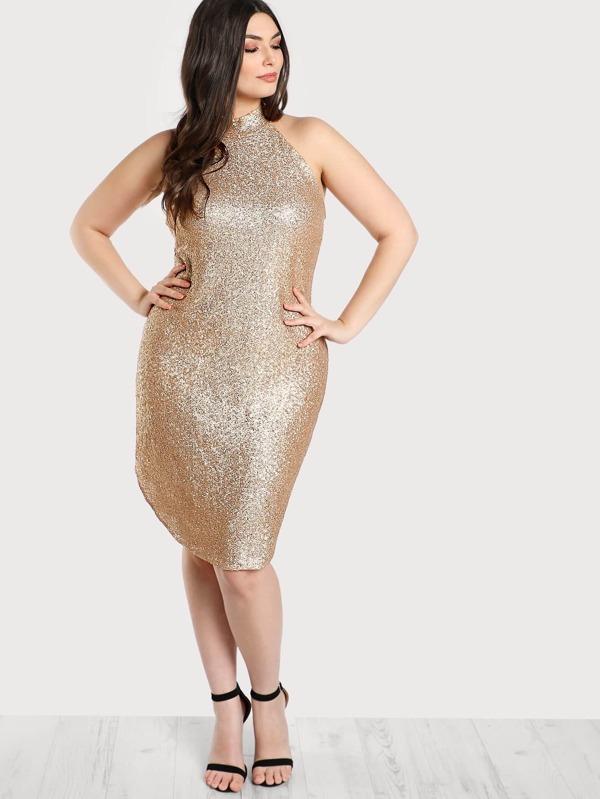 Plus Glittered Sequin Halter Dress CHAMPAGNE