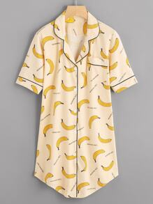 Banana Print Shirt Sleep Dress
